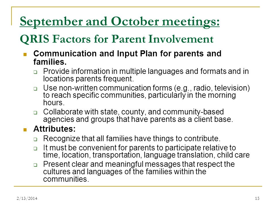 September and October meetings: QRIS Factors for Parent Involvement