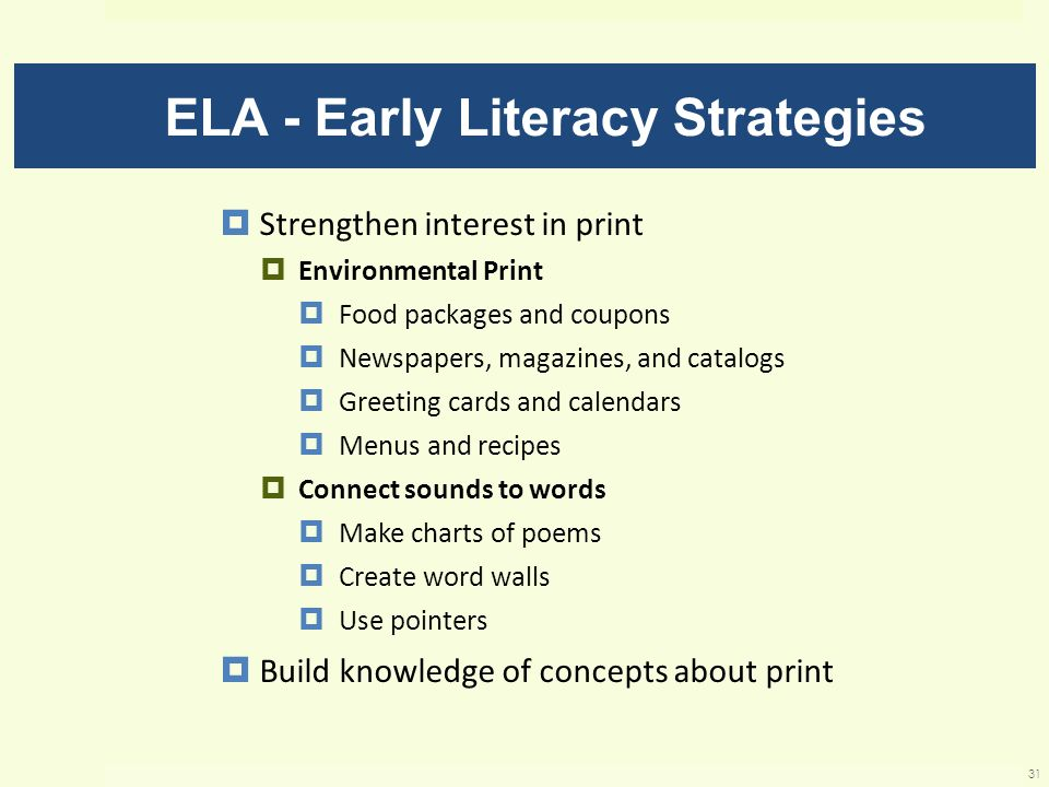 ELA - Early Literacy Strategies