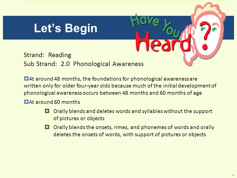 Let's Begin Strand: Reading Sub Strand: 2.0 Phonological Awareness