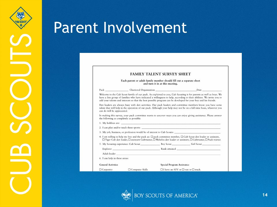 Parent Involvement Say (in your own words):
