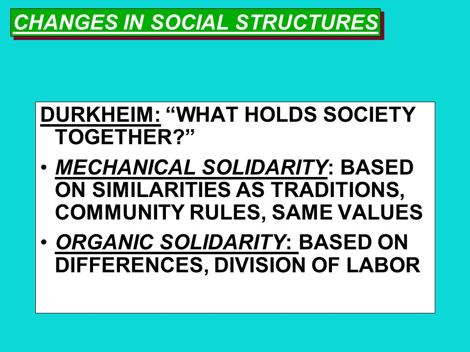 CHANGES IN SOCIAL STRUCTURES