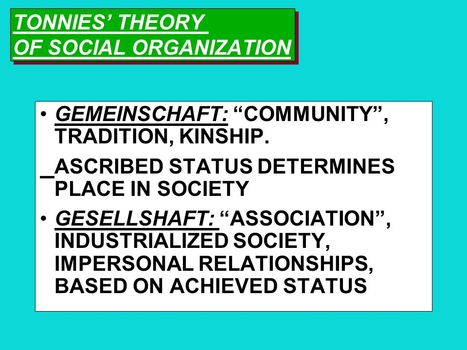 TONNIES' THEORY OF SOCIAL ORGANIZATION