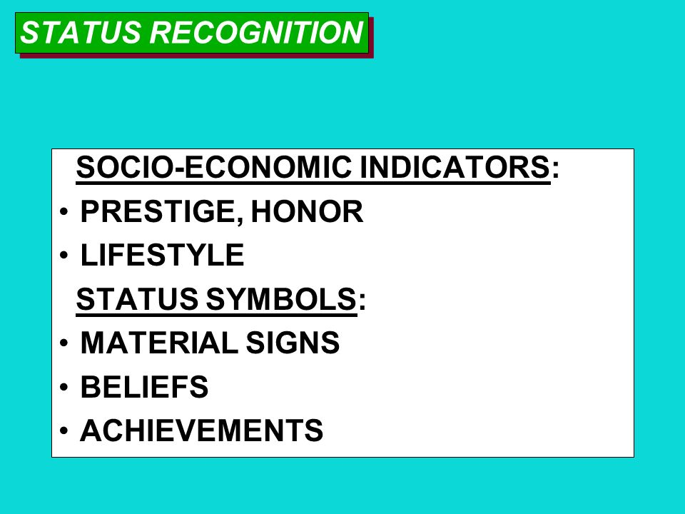 STATUS RECOGNITION SOCIO-ECONOMIC INDICATORS: PRESTIGE, HONOR. LIFESTYLE. STATUS SYMBOLS: MATERIAL SIGNS.