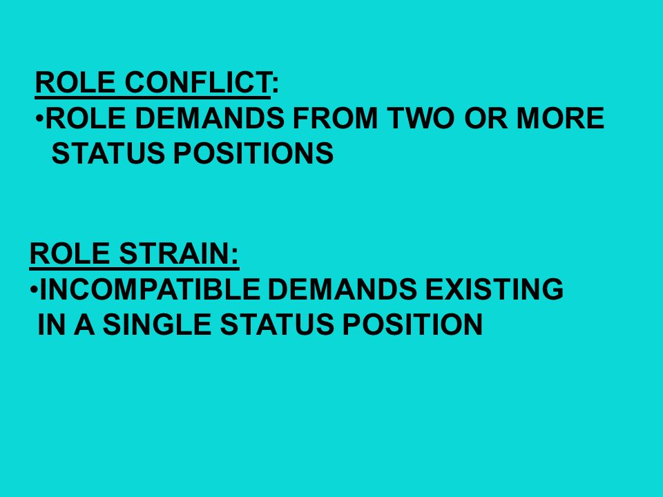 ROLE CONFLICT: ROLE DEMANDS FROM TWO OR MORE. STATUS POSITIONS. ROLE STRAIN: INCOMPATIBLE DEMANDS EXISTING.