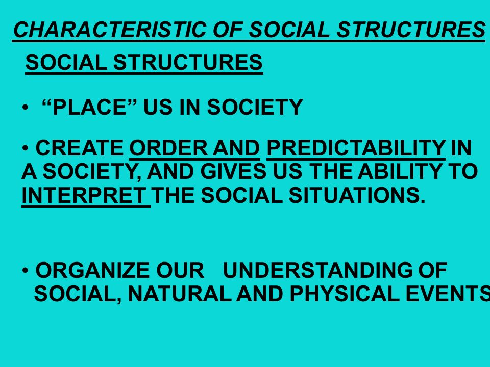CHARACTERISTIC OF SOCIAL STRUCTURES