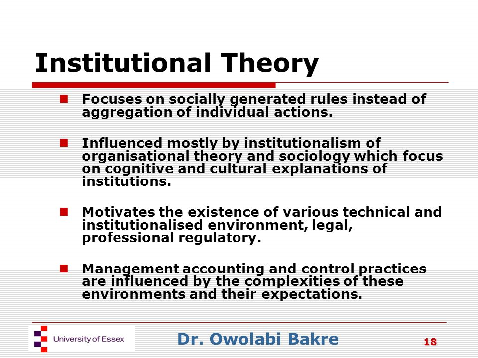 Relevancy Of Institutional Theory For Managers Case Study Solution & Analysis