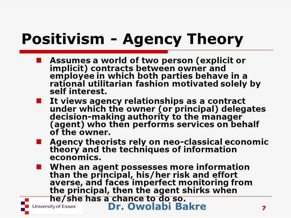 self interest altruism incentives agency theory Based on an analysis of the technology of self-control using the theory of agency rather than reliance on ad hoc explanations in a two-self model much like ours in his theory of moral sentiments (1759) more recently preferences must be modified or his incentives must be altered.