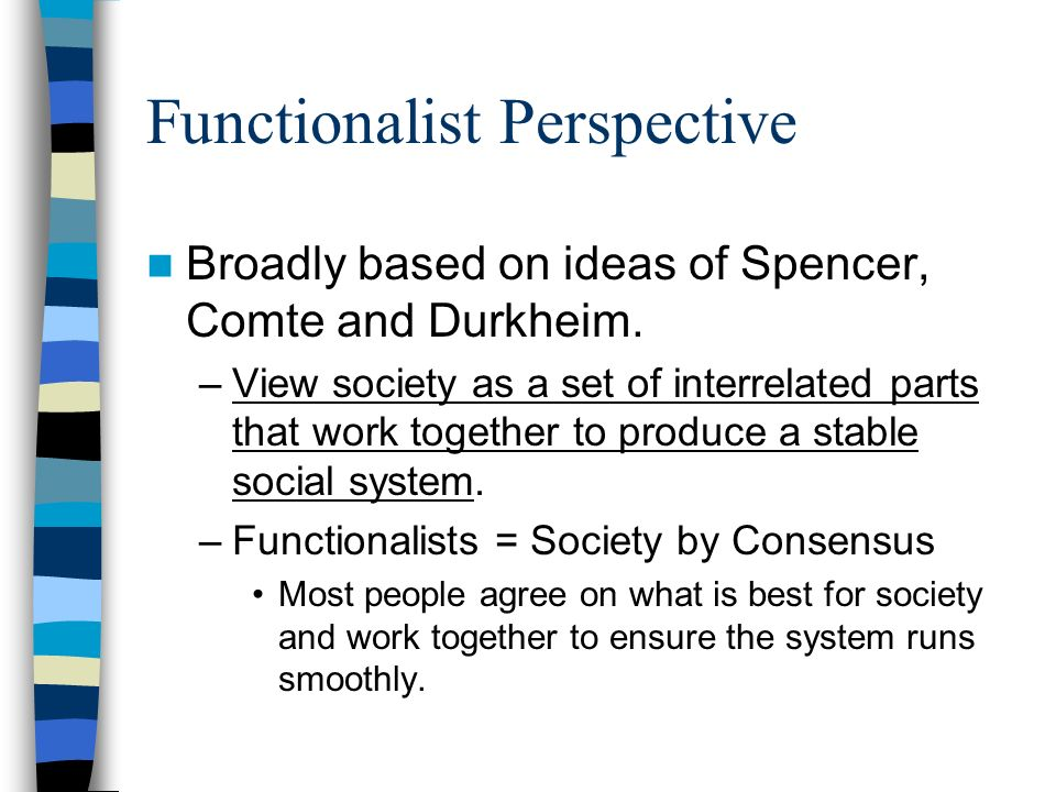 functionalist view society This brief post is designed to help you revise the functionalist perspective on the family the functionalist view of society functionalists regard society as a system made up of different parts which depend on each other.