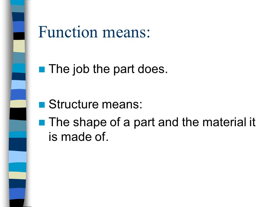 Function means: The job the part does. Structure means: