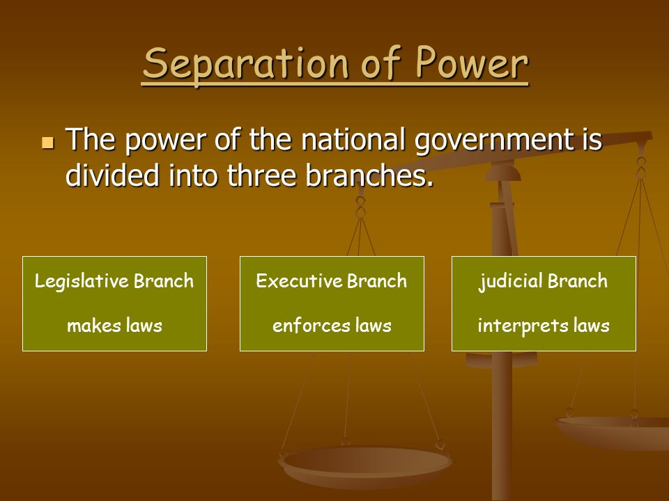 Separation of Power The power of the national government is divided into three branches. Legislative Branch.