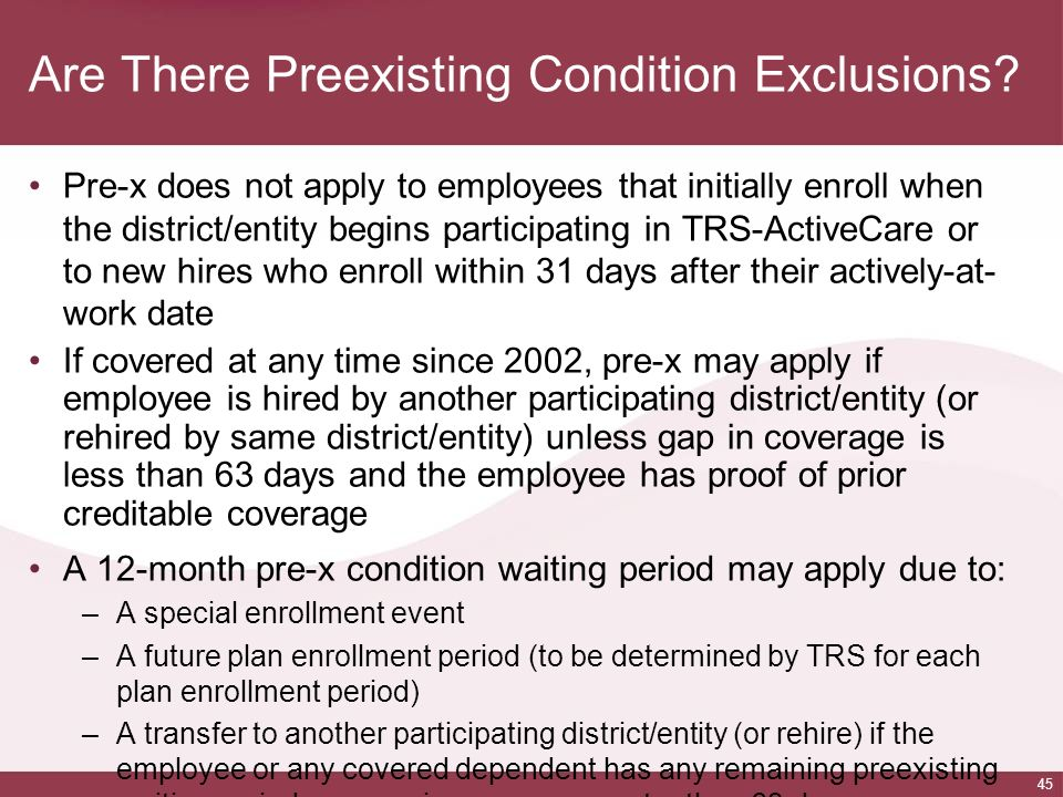Are There Preexisting Condition Exclusions