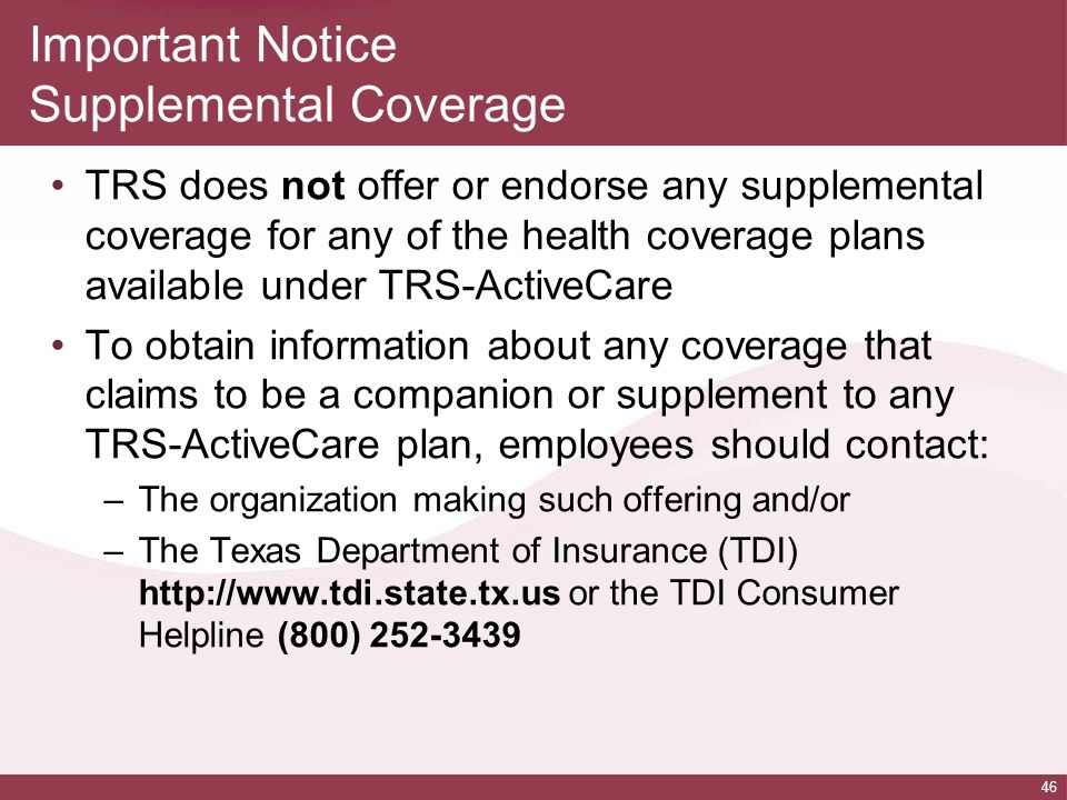 Important Notice Supplemental Coverage