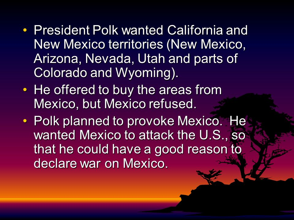 President Polk wanted California and New Mexico territories (New Mexico, Arizona, Nevada, Utah and parts of Colorado and Wyoming).