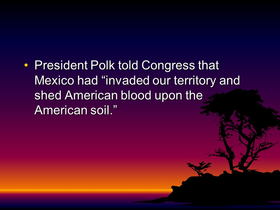 President Polk told Congress that Mexico had invaded our territory and shed American blood upon the American soil.