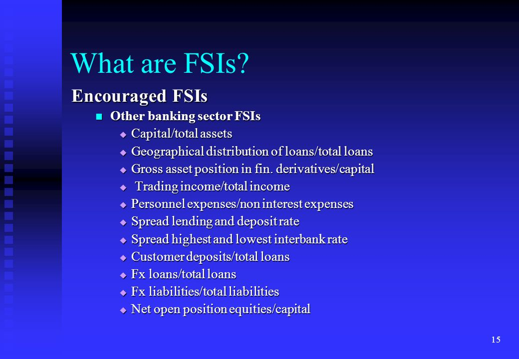 What are FSIs Encouraged FSIs Other banking sector FSIs