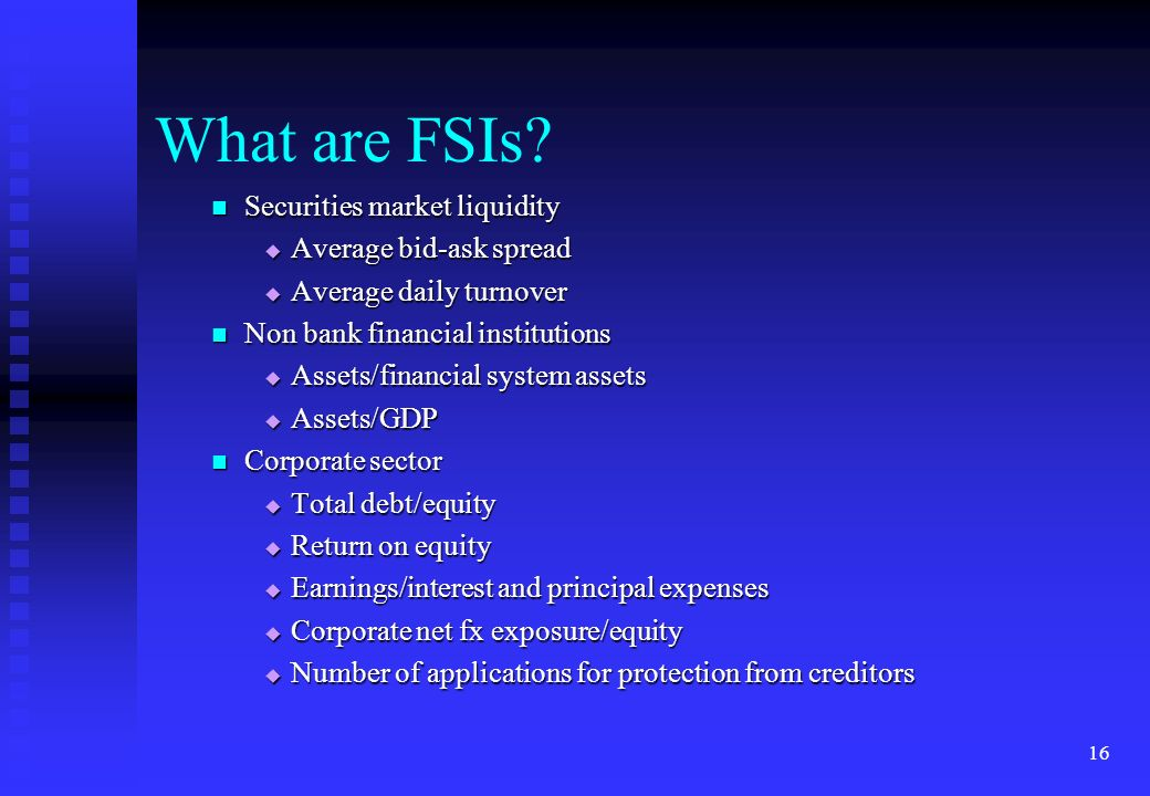 What are FSIs Securities market liquidity Average bid-ask spread
