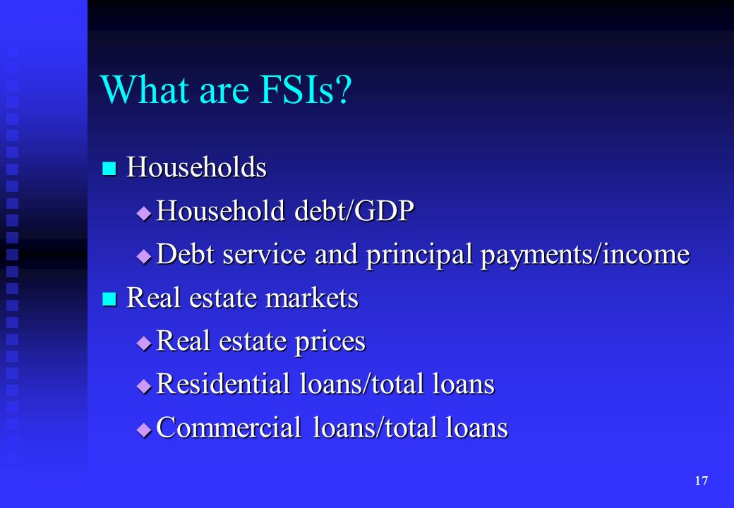 What are FSIs Households Household debt/GDP