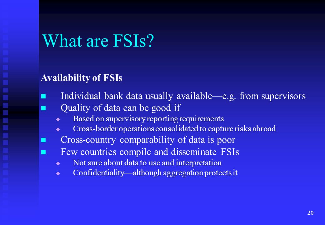 What are FSIs Availability of FSIs