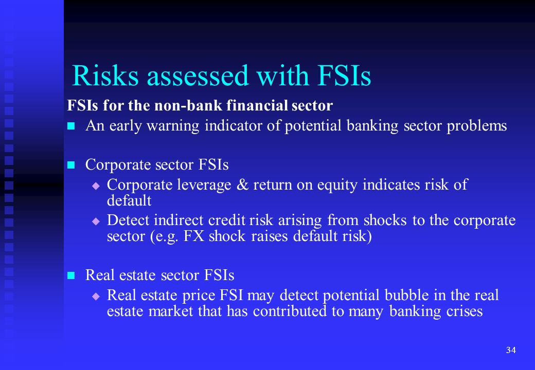Risks assessed with FSIs