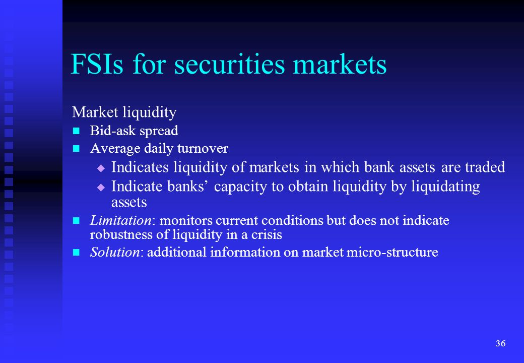 FSIs for securities markets