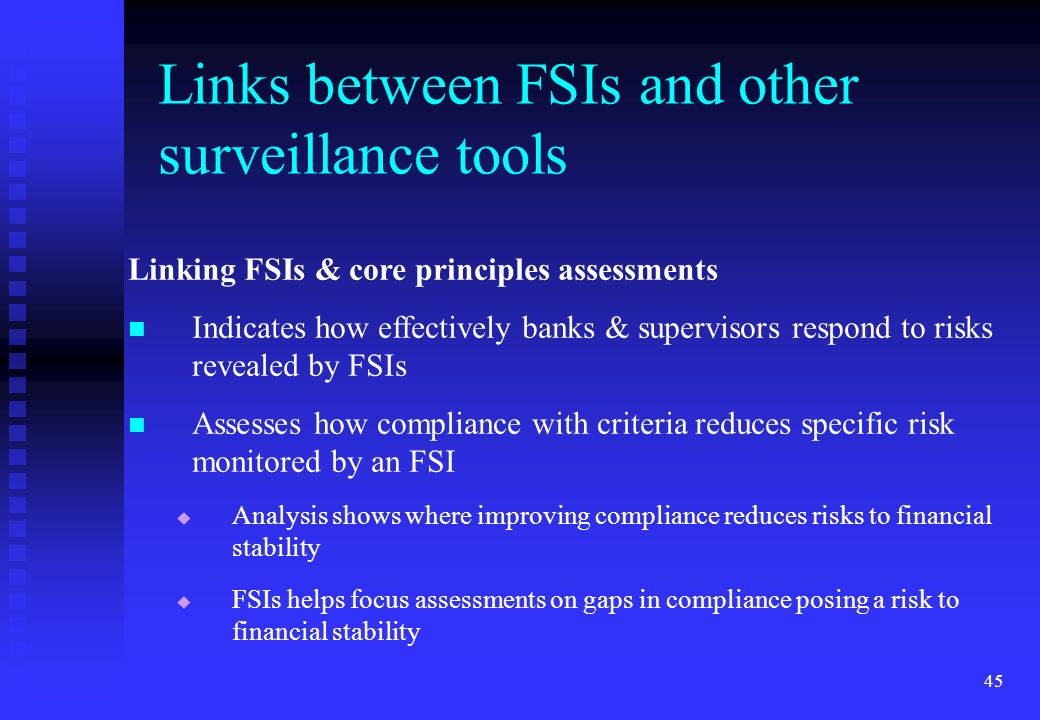 Links between FSIs and other surveillance tools