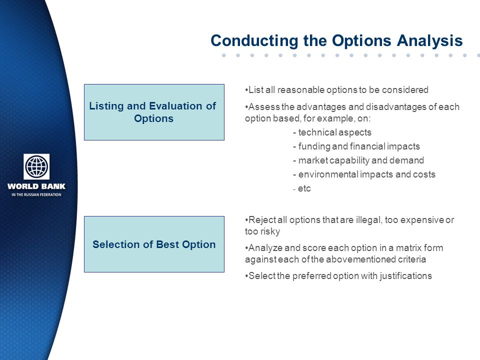 Conducting the Options Analysis