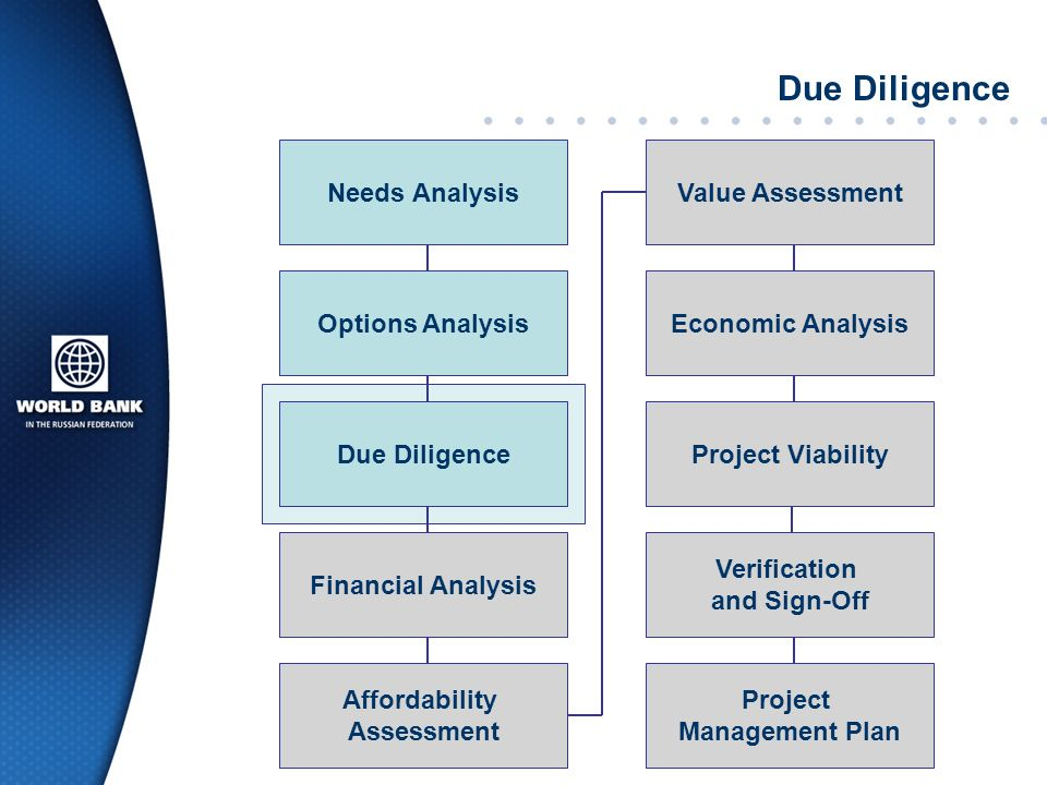 Due Diligence Needs Analysis Value Assessment Options Analysis