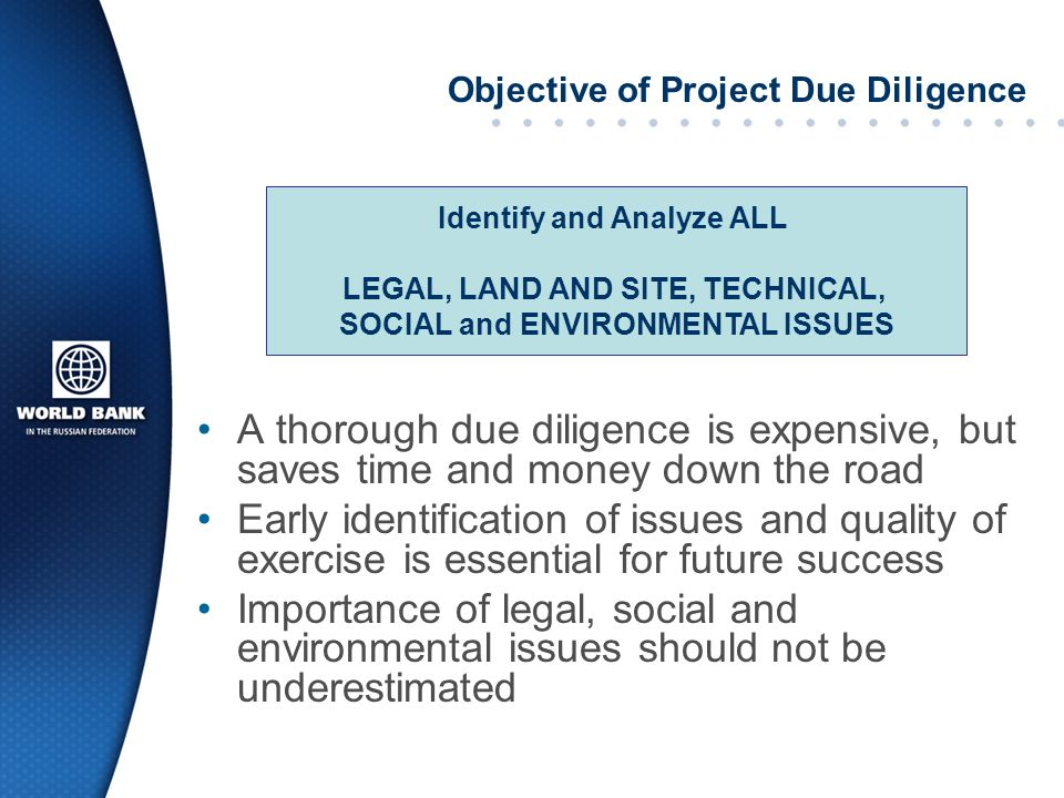 Objective of Project Due Diligence