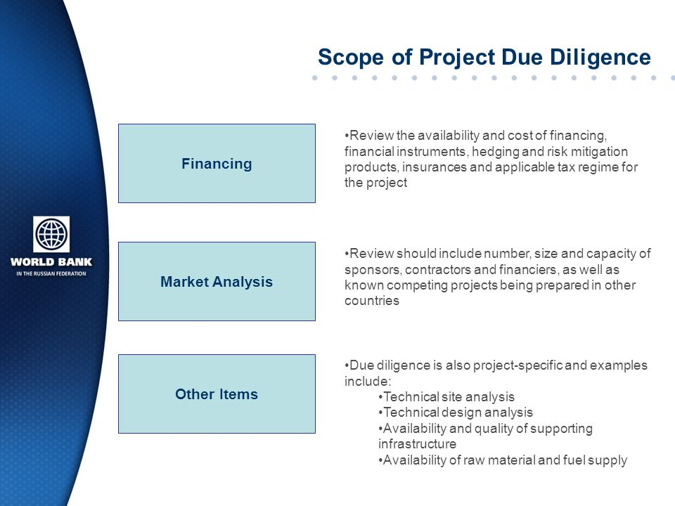 Scope of Project Due Diligence