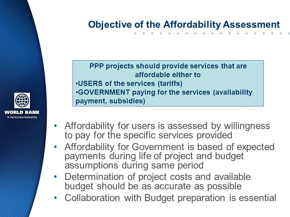 Objective of the Affordability Assessment