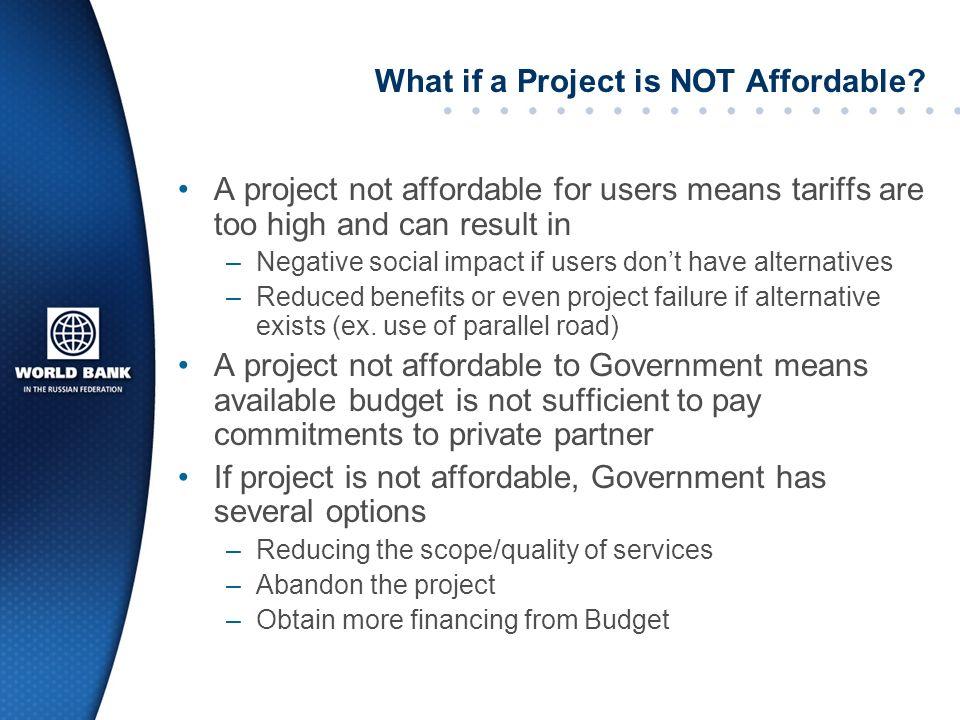 What if a Project is NOT Affordable
