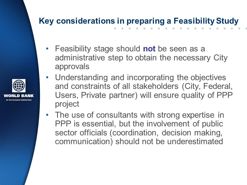 Key considerations in preparing a Feasibility Study