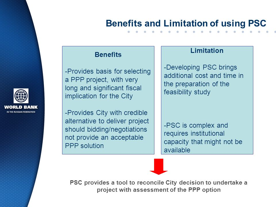 Benefits and Limitation of using PSC