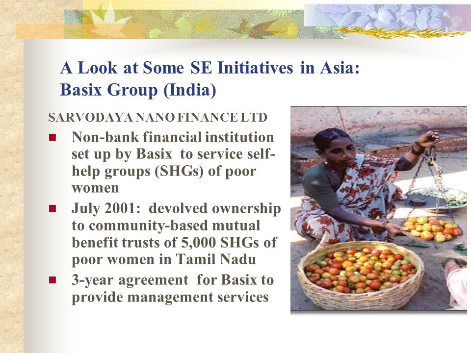 A Look at Some SE Initiatives in Asia: Basix Group (India)