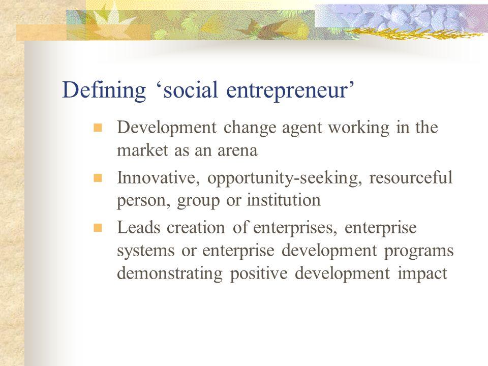 Defining 'social entrepreneur'