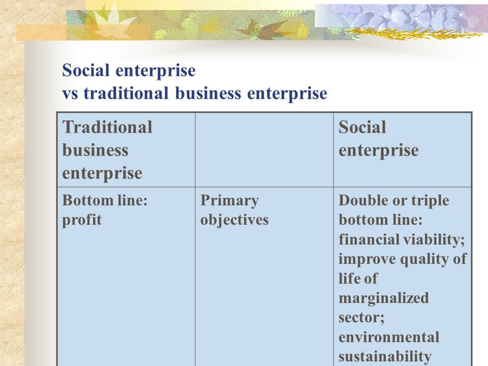 Social enterprise vs traditional business enterprise