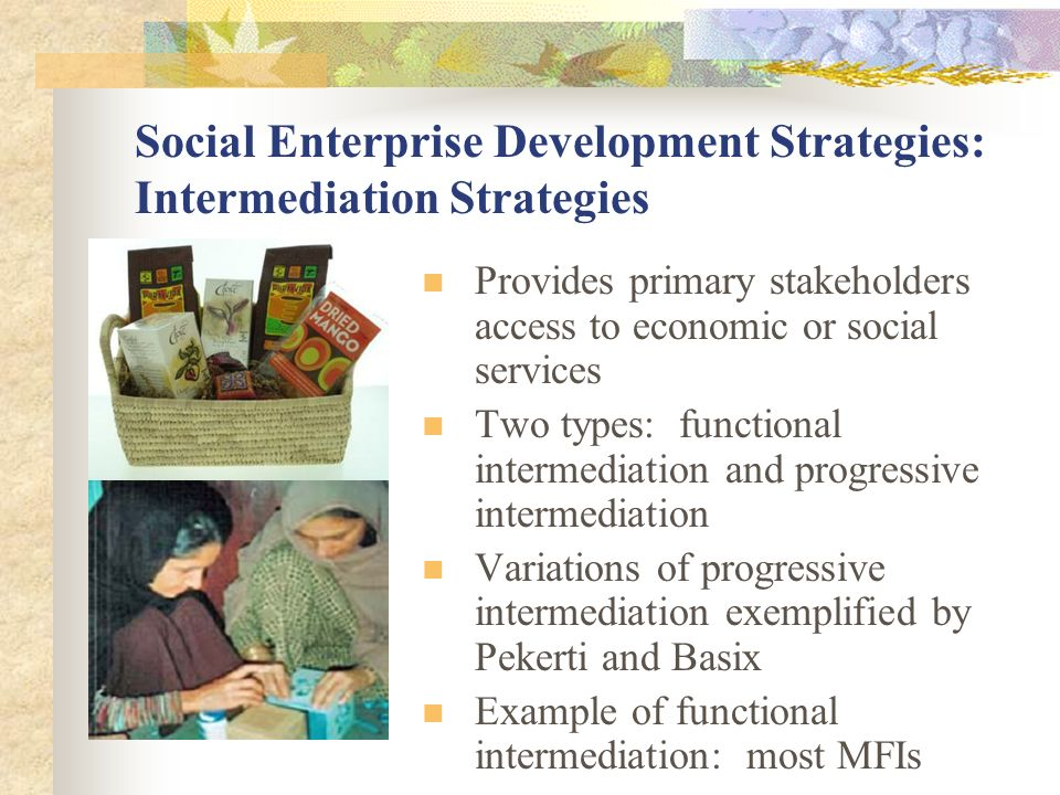 Social Enterprise Development Strategies: Intermediation Strategies