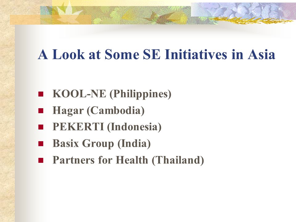 A Look at Some SE Initiatives in Asia