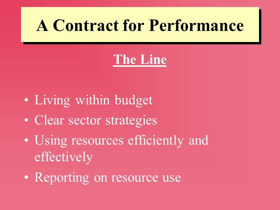 A Contract for Performance