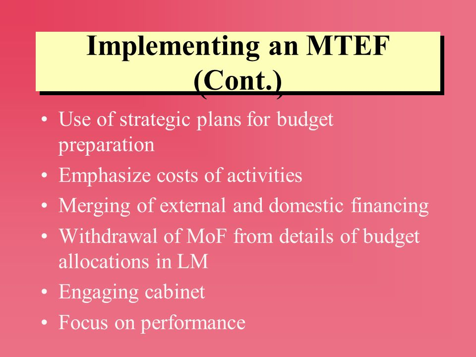 Implementing an MTEF (Cont.)
