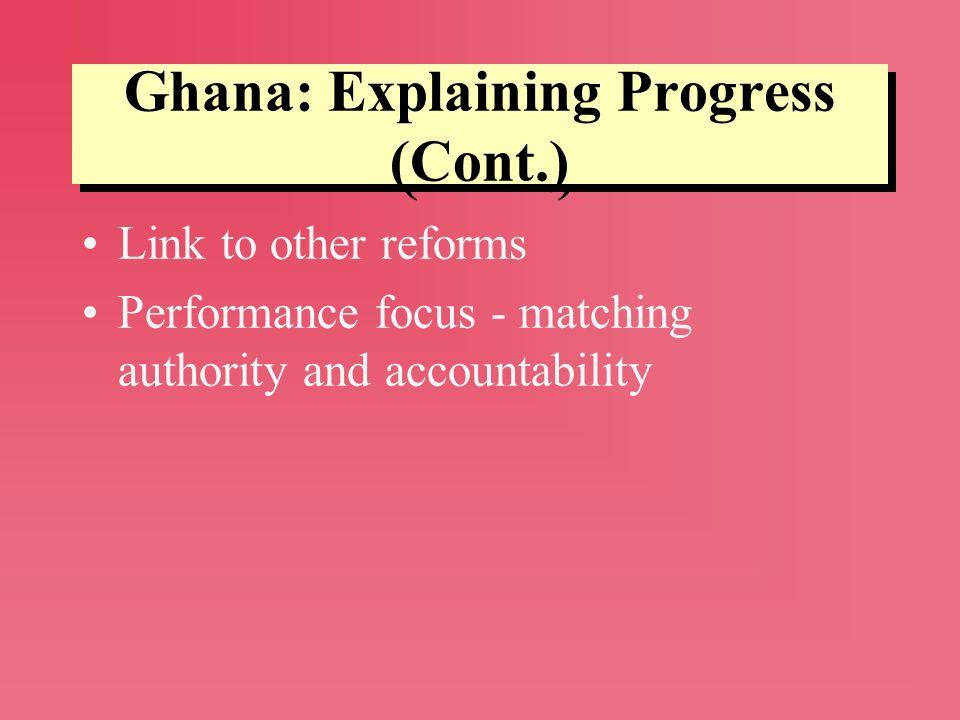 Ghana: Explaining Progress (Cont.)