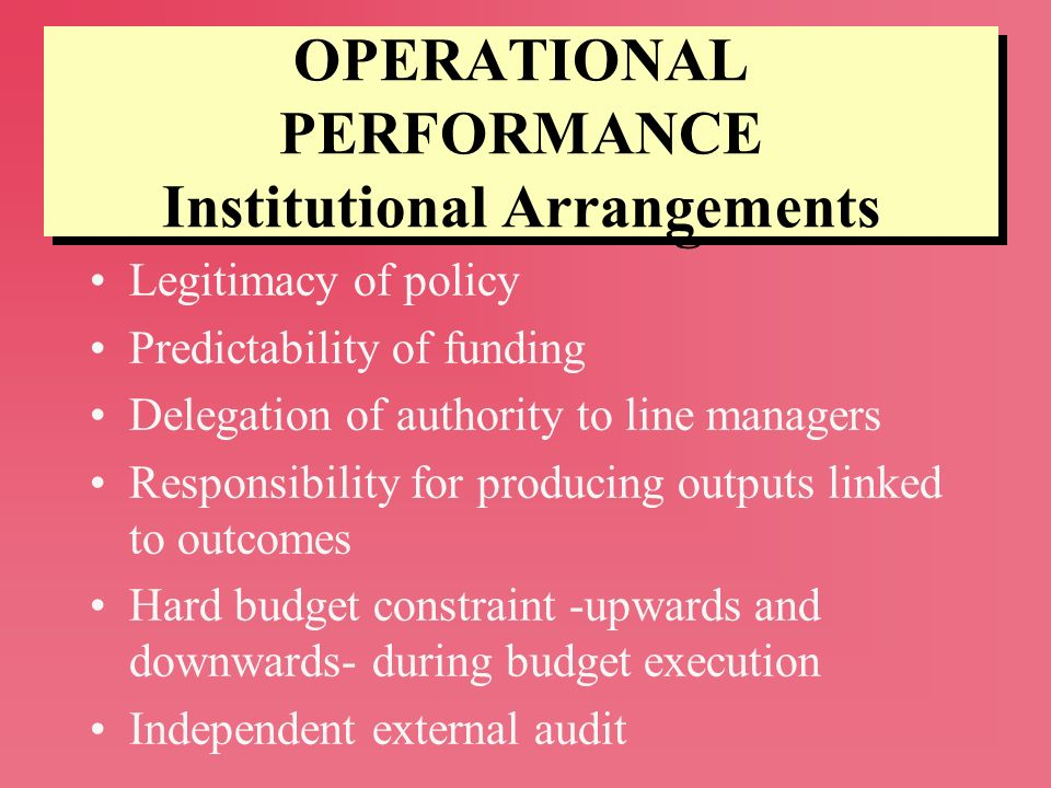 OPERATIONAL PERFORMANCE Institutional Arrangements