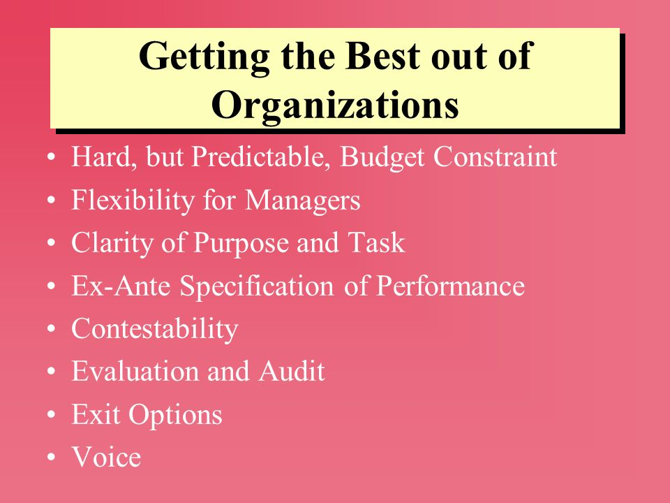 Getting the Best out of Organizations