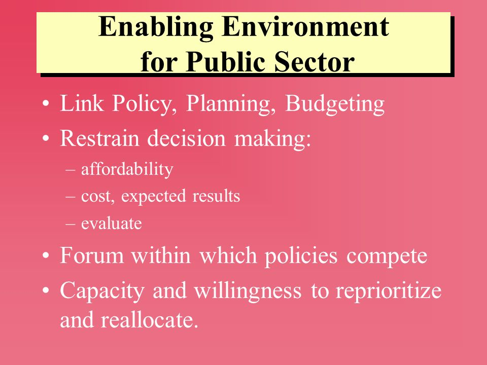 Enabling Environment for Public Sector