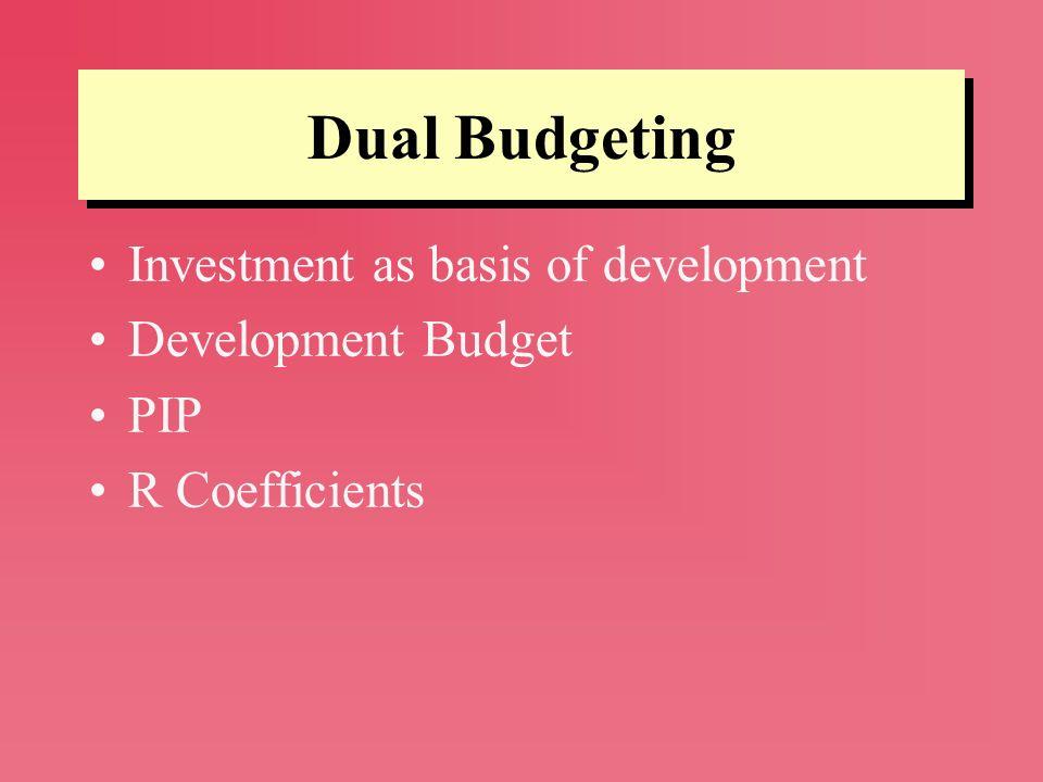Dual Budgeting Investment as basis of development Development Budget