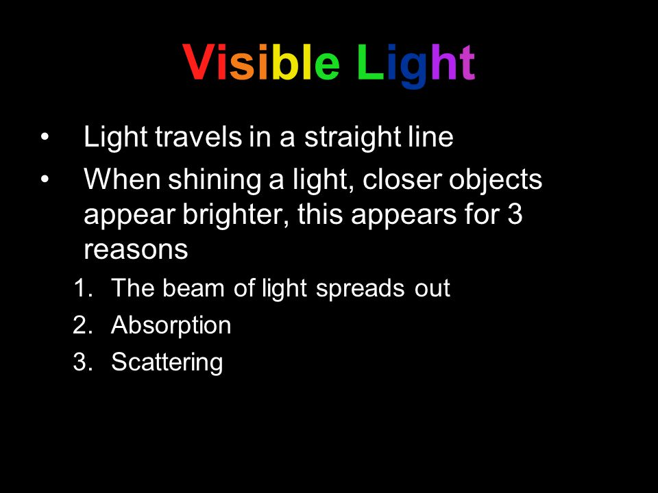 Visible Light Light travels in a straight line