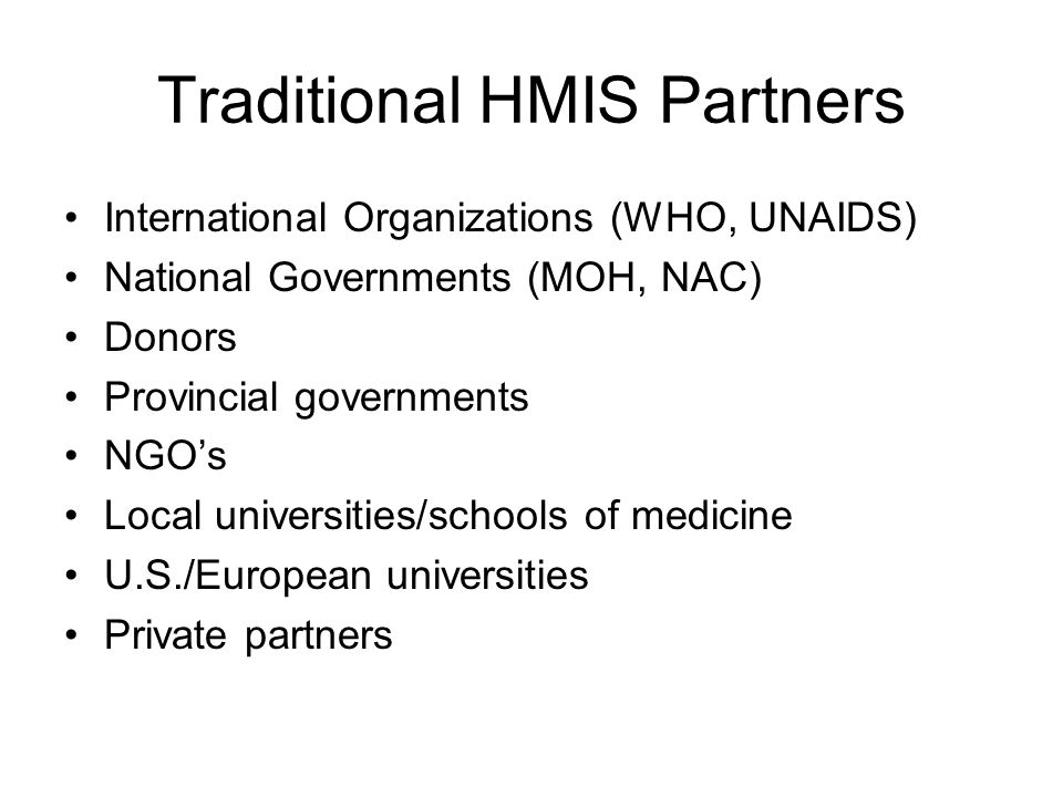Traditional HMIS Partners
