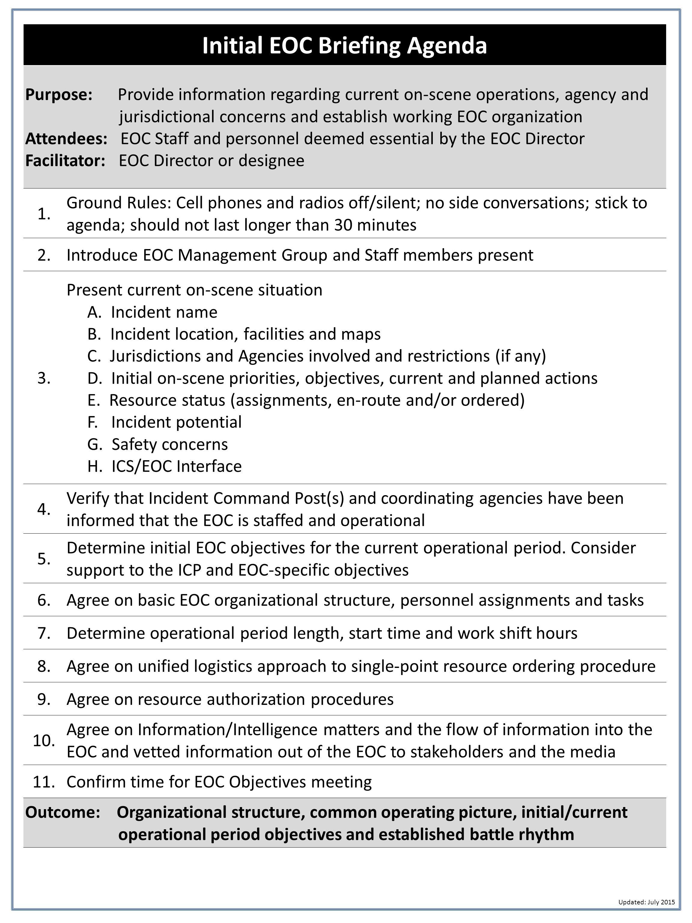 initial eoc briefing agenda