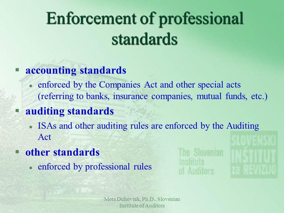 Enforcement of professional standards
