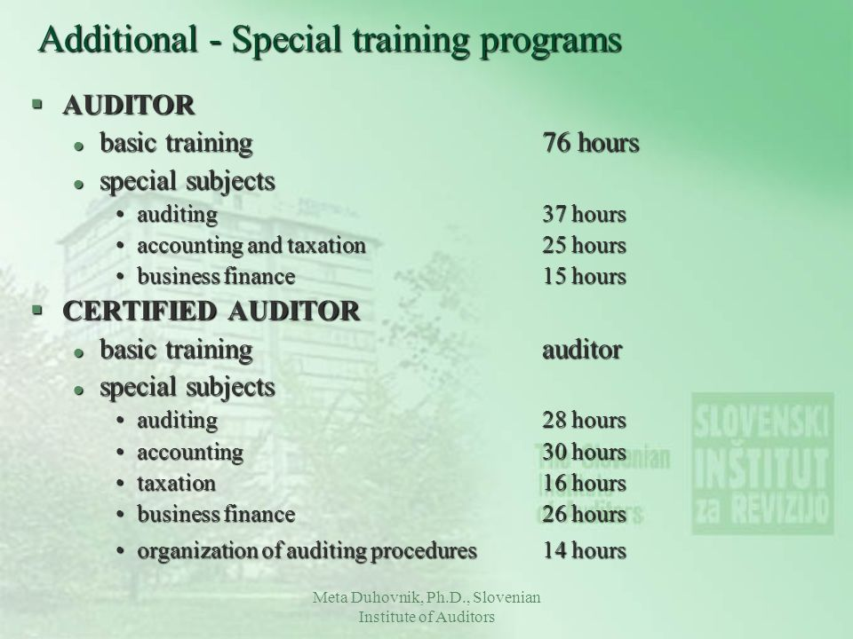 Additional - Special training programs